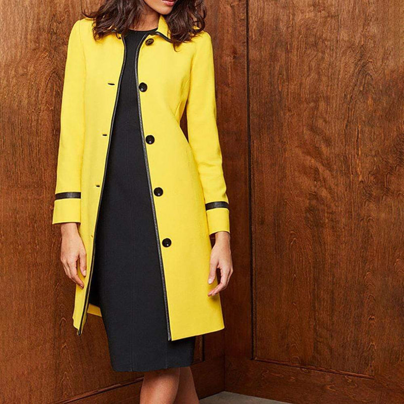 Carlisle Amarillo Yellow Single Breasted Long Coat RRP$748 - Zoom Boutique Store