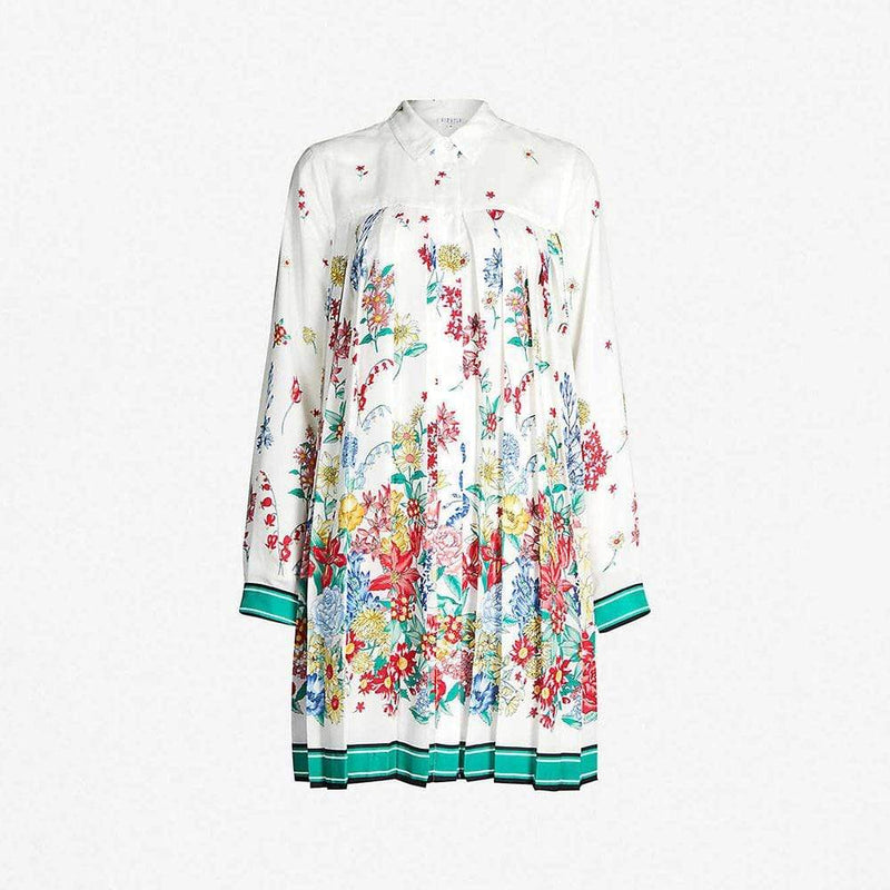 Claudie Pierlot Ramses Floral Print Crepe Pleated Dress RRP$315 36 Zoom Boutique Store dress Claudie Pierlot Ramses Floral Crepe Pleated Dress | Zoom Boutique