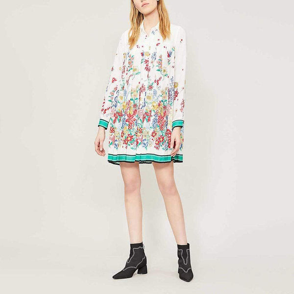 Claudie Pierlot Ramses Floral Print Crepe Pleated Dress RRP$315 Zoom Boutique Store dress Claudie Pierlot Ramses Floral Crepe Pleated Dress | Zoom Boutique