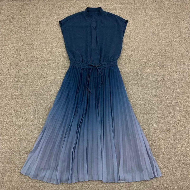Club Monaco Ombre Tie Waist Pleated Cap Sleeves Midi Dress Zoom Boutique Store dress Club Monaco Ombre Tie Waist Pleated Midi Dress | Zoom Boutique