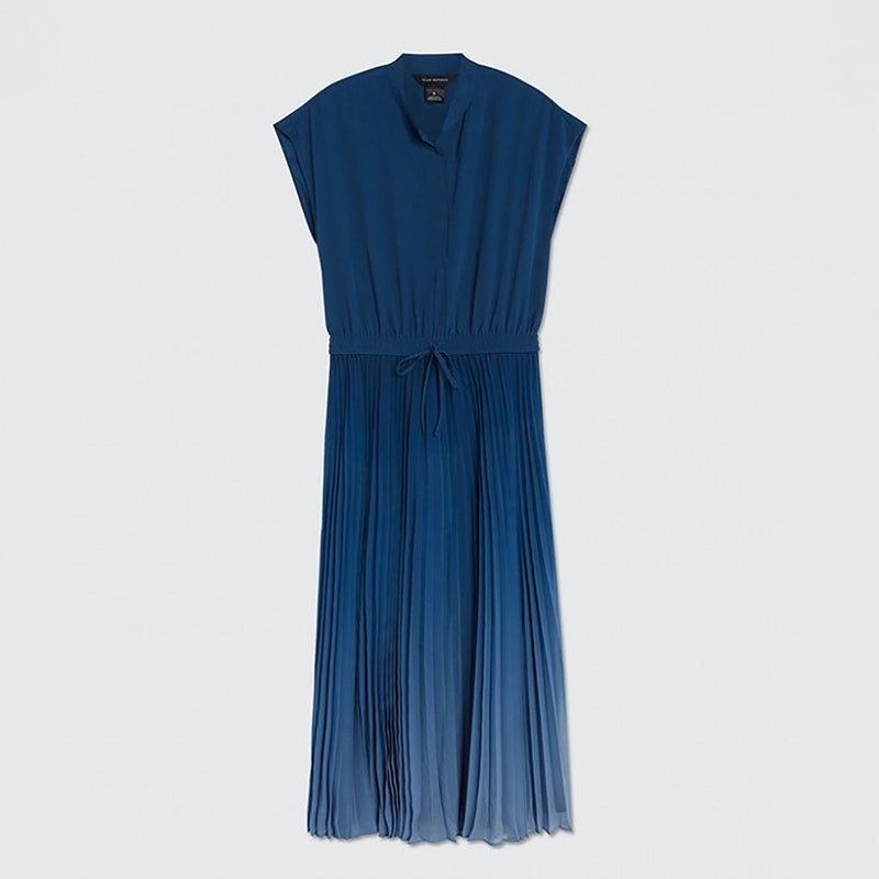 Club Monaco Ombre Tie Waist Pleated Cap Sleeves Midi Dress US0 / Blue Zoom Boutique Store dress Club Monaco Ombre Tie Waist Pleated Midi Dress | Zoom Boutique