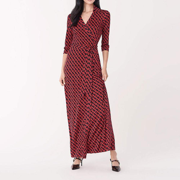 Diane von Furstenberg DVF Abigail Silk Jersey Maxi Wrap Dress $698 2 Zoom Boutique Store dress