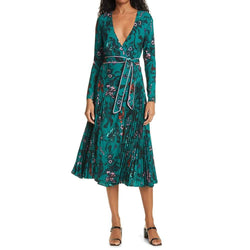 Diane von Furstenberg DVF Amiya Pleated Floral Crepe Wrap Dress Zoom Boutique Store dress Diane von Furstenberg DVF Amiya Pleated Wrap Dress | Zoom Boutique