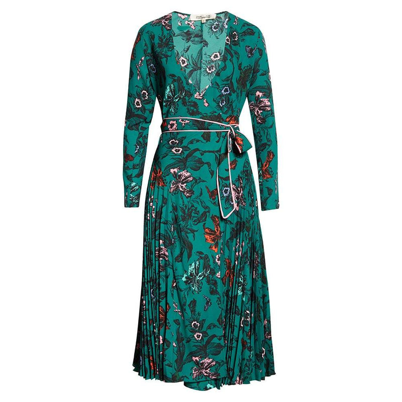 Diane von Furstenberg DVF Amiya Pleated Floral Crepe Wrap Dress US2 Zoom Boutique Store dress Diane von Furstenberg DVF Amiya Pleated Wrap Dress | Zoom Boutique