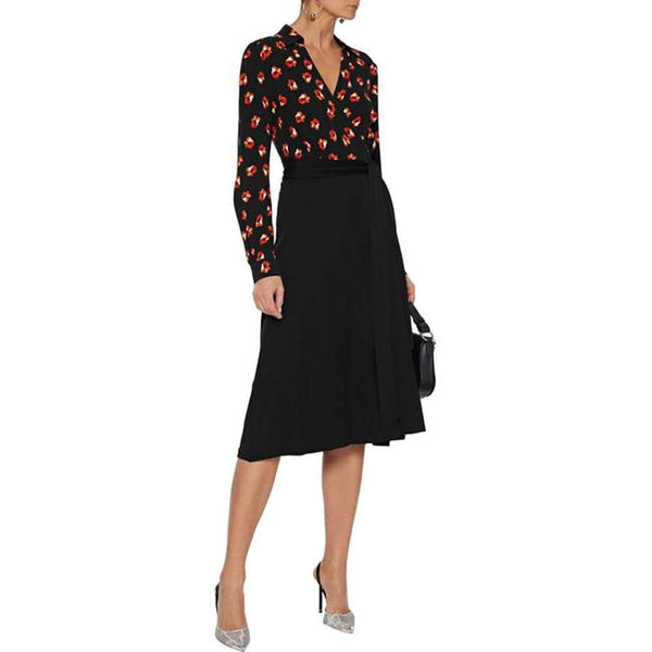 Diane von Furstenberg DVF Angelina Collared Crepe Wrap Dress $348 Zoom Boutique Store dress Diane von Furstenberg DVF Collared Crepe Wrap Dress | Zoom Boutique