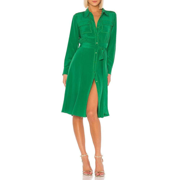 Diane von Furstenberg DVF Antonette Belted Silk Crepe De Chine Shirt Dress $448 Zoom Boutique Store dress