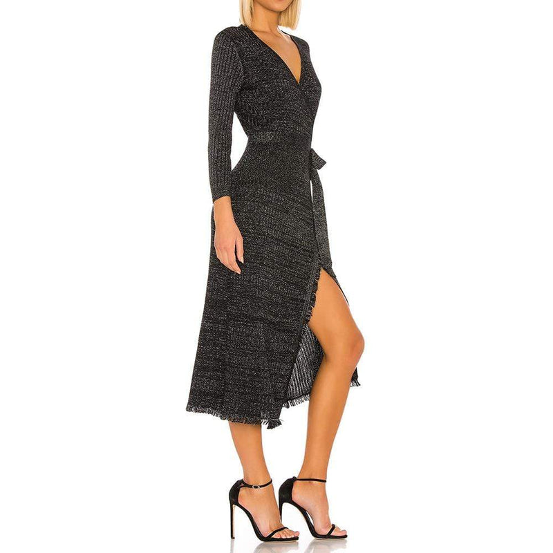 Diane von Furstenberg DVF Bobbi Ribbed Merino Wrap Dress RRP$498 - Zoom Boutique Store