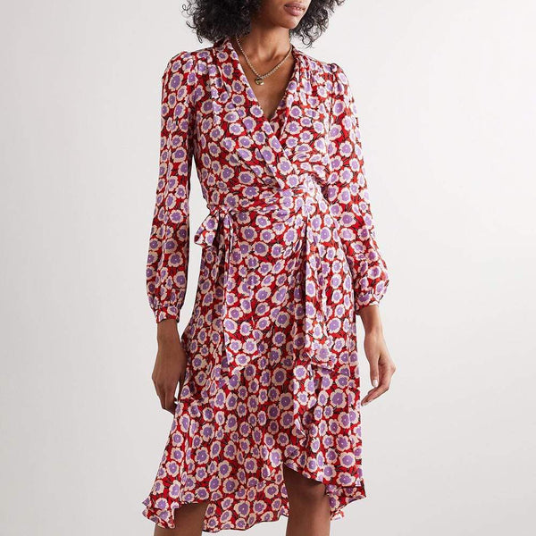 Diane von Furstenberg DVF Carla Silk Crepe de Chine Wrap Dress $500 0 Zoom Boutique Store dress