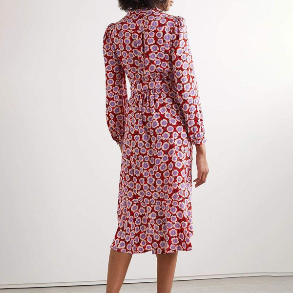 Diane von Furstenberg DVF Carla Silk Crepe de Chine Wrap Dress $500 Zoom Boutique Store dress