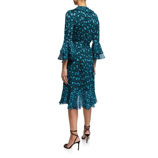 Diane von Furstenberg DVF Carli Silk Leopard Ruffle Wrap Dress $648 Zoom Boutique Store dress