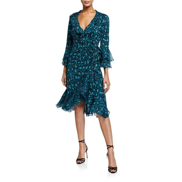 Diane von Furstenberg DVF Carli Silk Leopard Ruffle Wrap Dress $648 2 Zoom Boutique Store dress