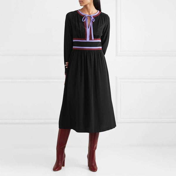 Diane von Furstenberg DVF Cherry Striped Crepe Midi Dress $600 Zoom Boutique Store dress