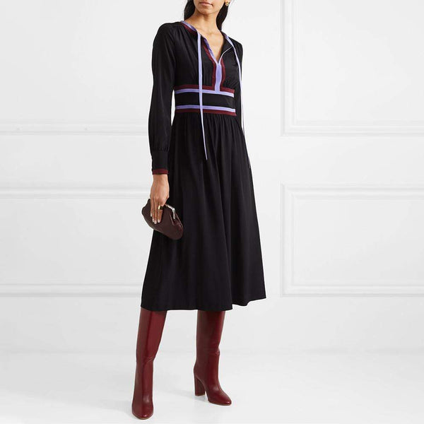 Diane von Furstenberg DVF Cherry Striped Crepe Midi Dress $600 2 Zoom Boutique Store dress
