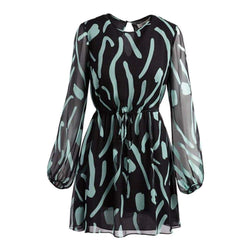 Diane von Furstenberg DVF Crew Neck Sheer Silk Mini Dress $498 - Zoom Boutique Store
