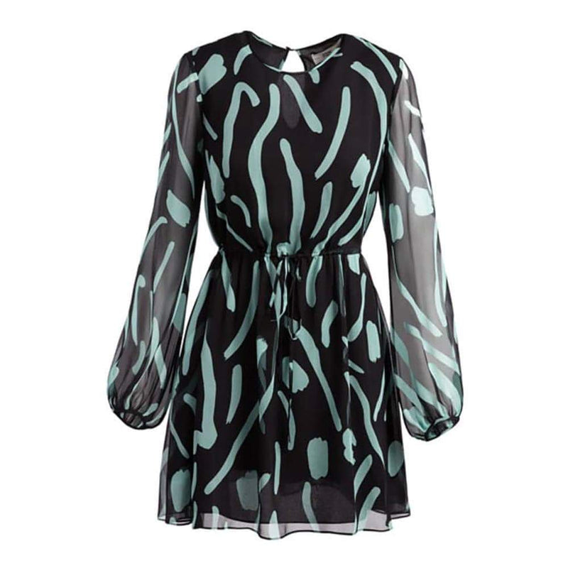 Diane von Furstenberg DVF Crew Neck Sheer Silk Mini Dress RRP$498 - Zoom Boutique Store