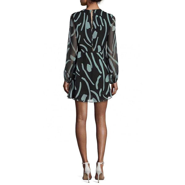 Diane von Furstenberg DVF Crew Neck Sheer Silk Mini Dress $498 Zoom Boutique Store dress