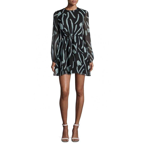 Diane von Furstenberg DVF Crew Neck Sheer Silk Mini Dress $498 2 Zoom Boutique Store dress