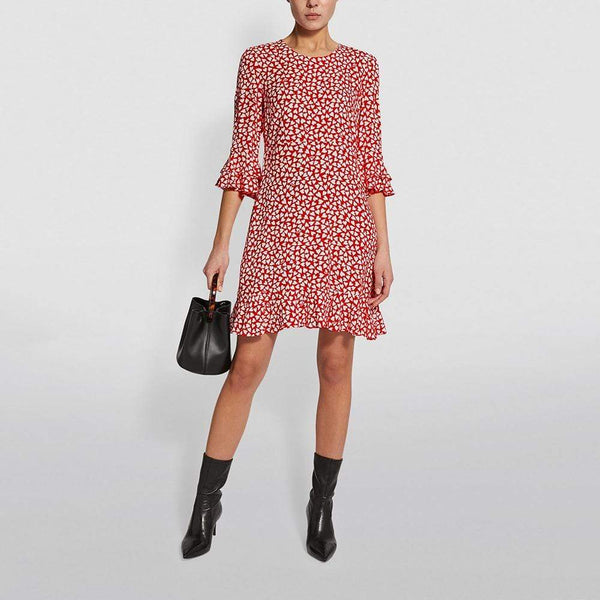 Diane von Furstenberg DVF Heart Print Elly Crepe Mini Dress $248 Zoom Boutique Store dress