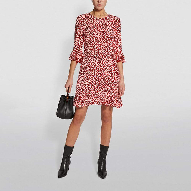 Diane von Furstenberg DVF Heart Print Elly Crepe Mini Dress RRP$248 - Zoom Boutique Store