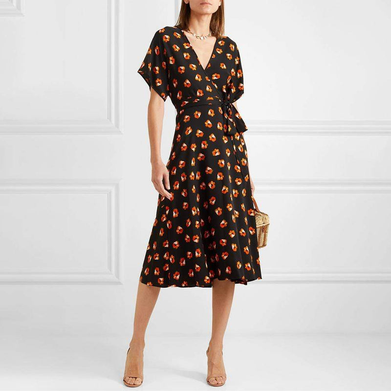 Diane von Furstenberg DVF Kelsey Silk Crepe Wrap Midi Dress $500 - Zoom Boutique Store