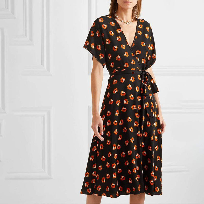 Diane von Furstenberg DVF Kelsey Silk Crepe Wrap Midi Dress $500 2 Zoom Boutique Store dress