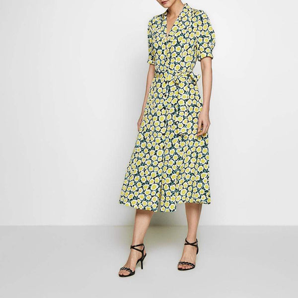 Diane von Furstenberg DVF Lily Crepe De Chine Belted Midi Dress $548 Zoom Boutique Store dress Diane von Furstenberg DVF Lily Crepe Belted Midi Dress | Zoom Boutique