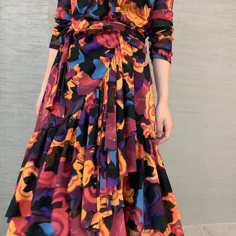 Diane von Furstenberg DVF Paloma Ruffled Mesh Wrap Dress RRP$398 - Zoom Boutique Store