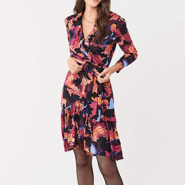 Diane von Furstenberg DVF Paloma Ruffled Mesh Wrap Dress $398 S Zoom Boutique Store dress