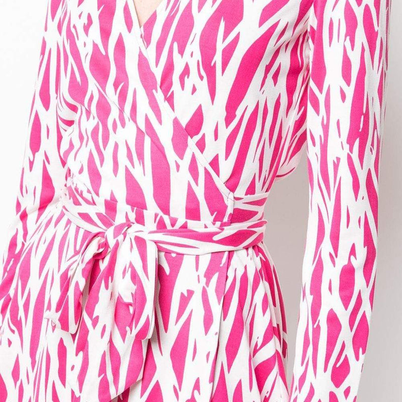 Diane von Furstenberg DVF Printed Silk Jersey Wrap Dress RRP$468 - Zoom Boutique Store