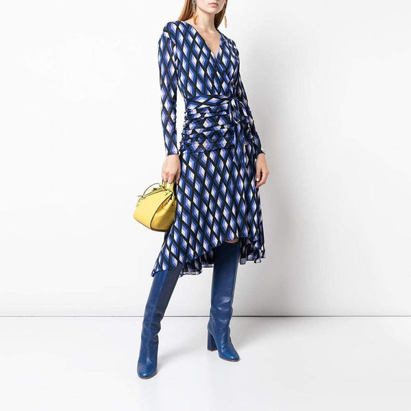 Diane von Furstenberg DVF Rilynn V Neck Wrap Dress $498 Zoom Boutique Store dress