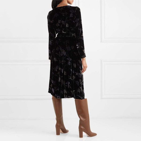 Diane von Furstenberg DVF Tilla Floral Print Velvet Wrap Dress $598 Zoom Boutique Store dress