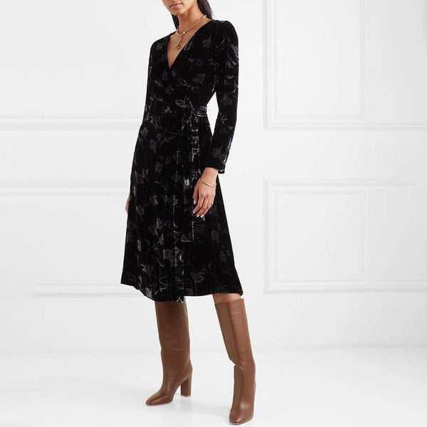 Diane von Furstenberg DVF Tilla Floral Print Velvet Wrap Dress $598 XS Zoom Boutique Store dress