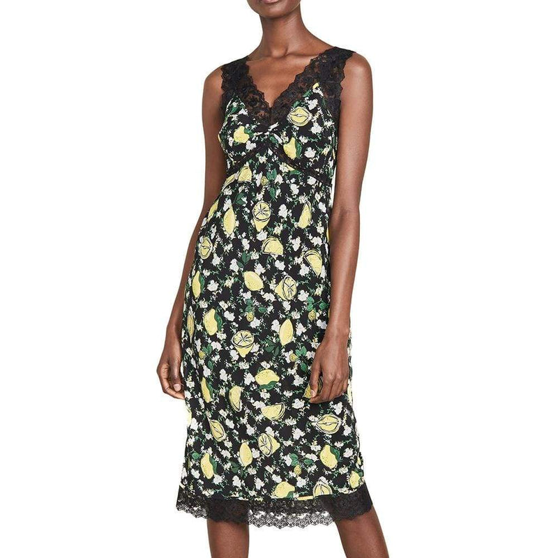 Diane von Furstenberg Issey Lace Trim Silk Dress RRP$448 - Zoom Boutique Store