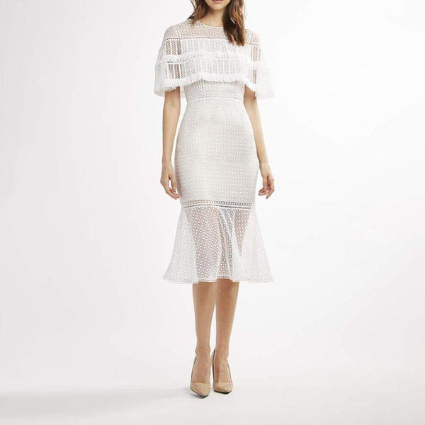 Elie Tahari Janine Lace Capelet Mdi Dress with Fringe Trim $498 0 Zoom Boutique Store dress