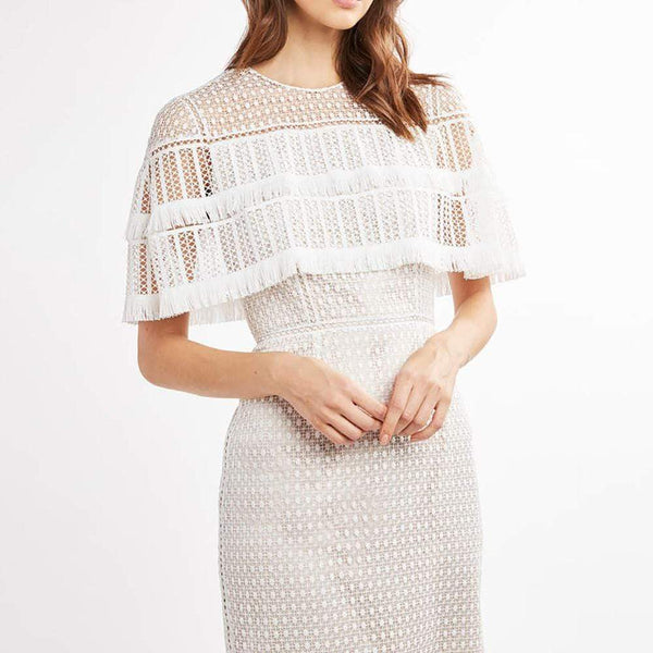 Elie Tahari Janine Lace Capelet Mdi Dress with Fringe Trim $498 Zoom Boutique Store dress