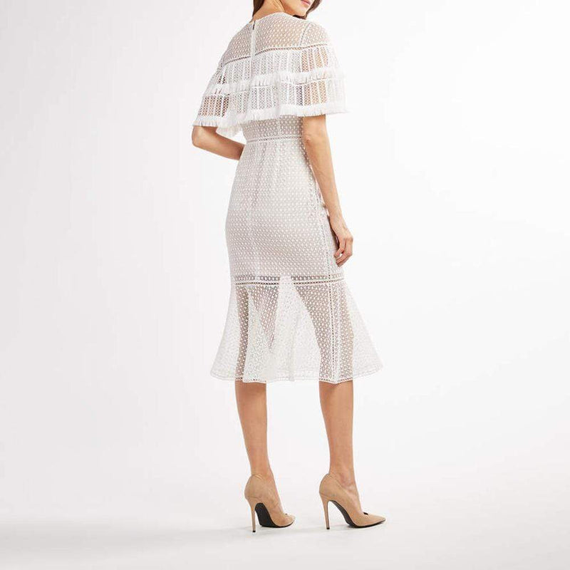 Elie Tahari Janine Lace Capelet Mdi Dress with Fringe Trim $498 - Zoom Boutique Store