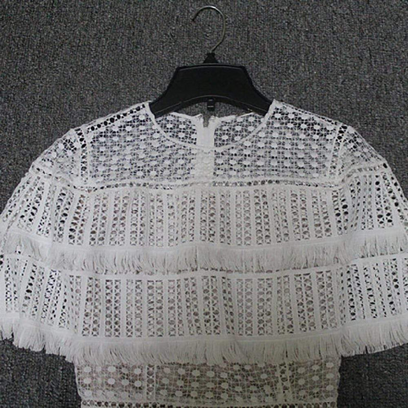 Elie Tahari Janine Lace Capelet Mdi Dress with Fringe Trim RRP$498 - Zoom Boutique Store