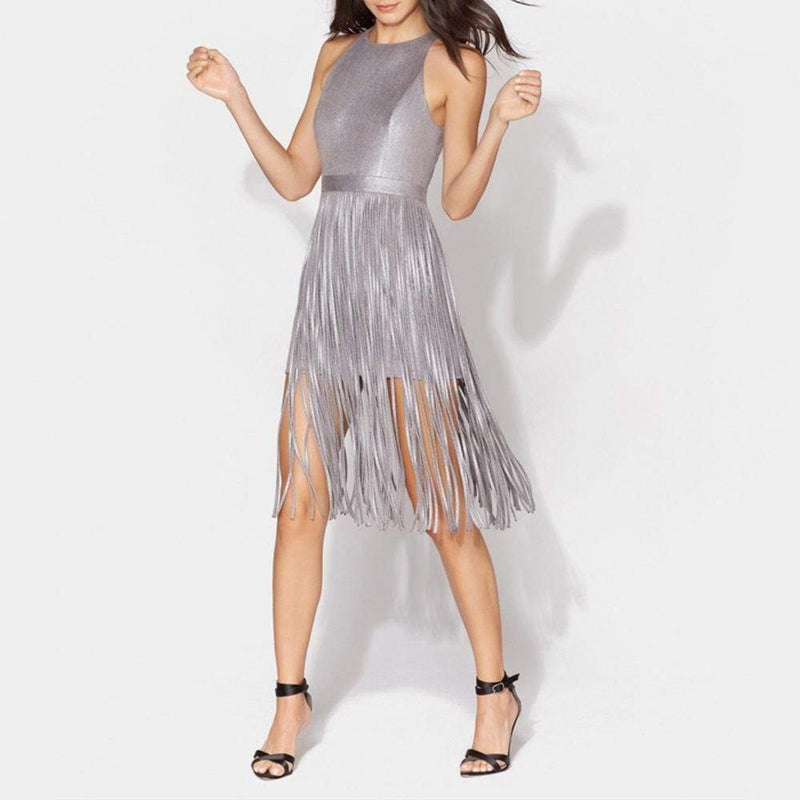Halston Heritage Fringed Skirt Metallic Midi Dress RRP$575 Zoom Boutique Store dress Halston Heritage Fringed Skirt Metallic Midi Dress | Zoom Boutique