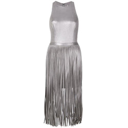 Halston Heritage Fringed Skirt Metallic Midi Dress RRP$575 US8 Zoom Boutique Store dress Halston Heritage Fringed Skirt Metallic Midi Dress | Zoom Boutique