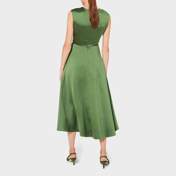 Hobbs Cassandra Twist Neck Satin Drape Fit & Flare Midi Dress RRP$420 Zoom Boutique Store dress Hobbs Cassandra Twist Neck Satin Fit & Flare Midi Dress| Zoom Boutique