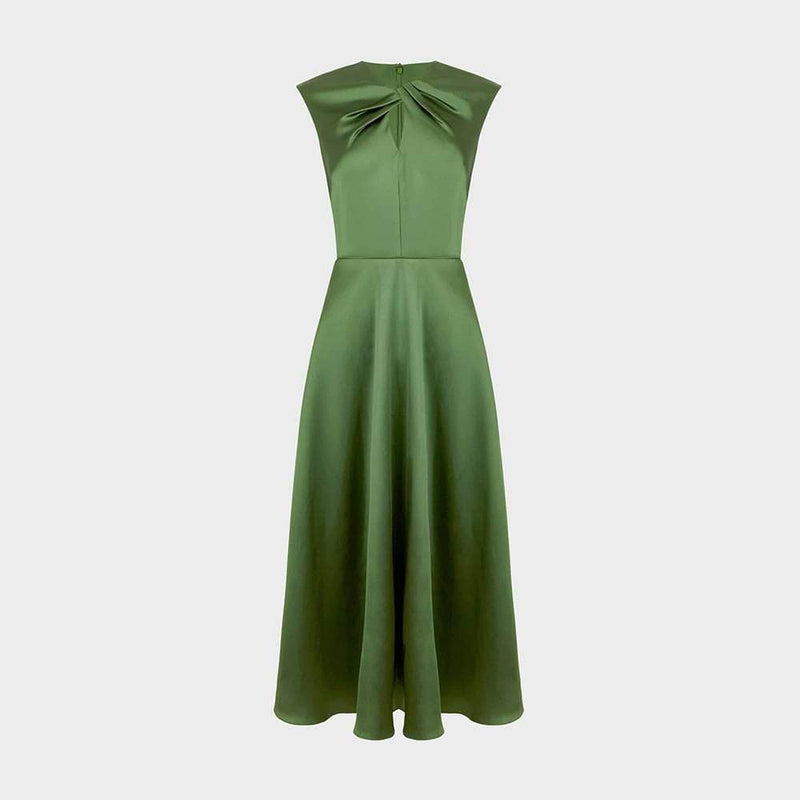 Hobbs Cassandra Twist Neck Satin Drape Fit & Flare Midi Dress RRP$420 UK8 Zoom Boutique Store dress Hobbs Cassandra Twist Neck Satin Fit & Flare Midi Dress| Zoom Boutique