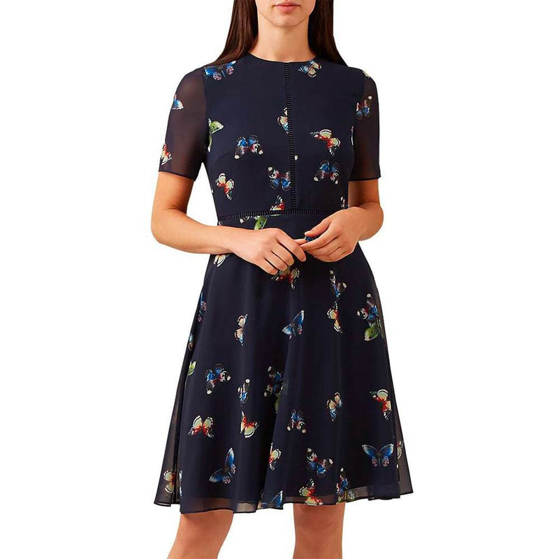 Hobbs Cecily Butterfly Print Fit & Flare Dress RRP$217 Zoom Boutique Store dress Hobbs Cecily Butterfly Print Fit & Flare Dress | Zoom Boutique