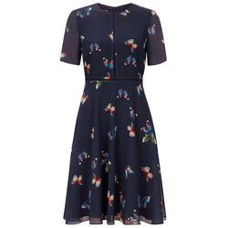 Hobbs Cecily Butterfly Print Fit & Flare Dress RRP$217 UK6 Zoom Boutique Store dress Hobbs Cecily Butterfly Print Fit & Flare Dress | Zoom Boutique