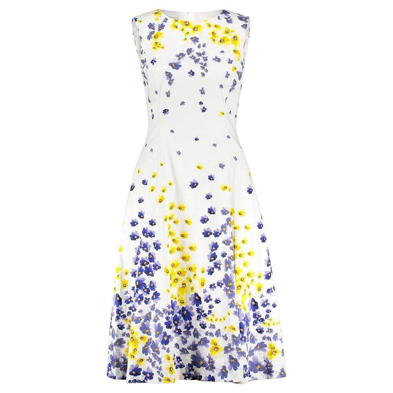Hobbs Cleo Cotton Blend Floral Fit & Flare Midi Dress RRP$225 UK8 Zoom Boutique Store dress Hobbs Cleo Cotton Blend Floral Fit & Flare Midi Dress | Zoom Boutique