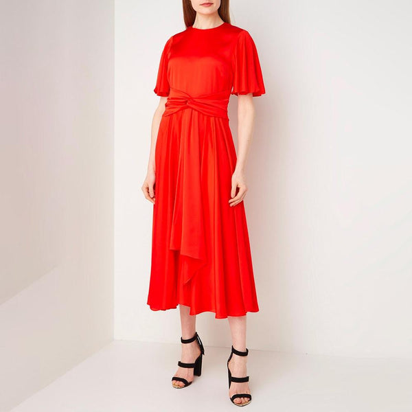 Hobbs Leia Satin Frill Sleeves Fit & Flare Midi Dress RRP$395 Zoom Boutique Store dress Hobbs Leia Satin Frill Sleeves Fit & Flare Midi Dress | Zoom Boutique