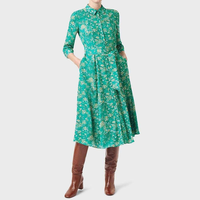 Hobbs Lillian Printed Fit & Flare Shirt Dress RRP$220 Zoom Boutique Store dress Hobbs Lillian Printed Fit & Flare Shirt Dress | Zoom Boutique