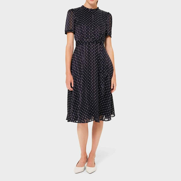 Hobbs Mae Jacquard Spot Fit & Flare Shirt Dress RRP$279 - Zoom Boutique Store