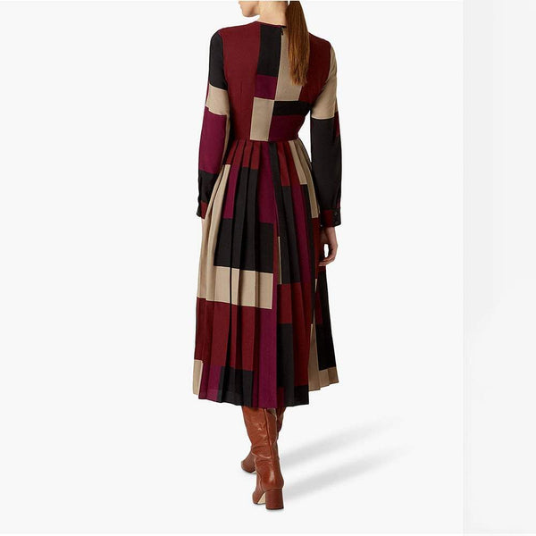 Hobbs Norah Graphic Print Pleated Midi Fit & Flare Dress RRP$355 Zoom Boutique Store dress Hobbs Norah Graphic Print Pleated Midi Fit Flare Dress | Zoom Boutique