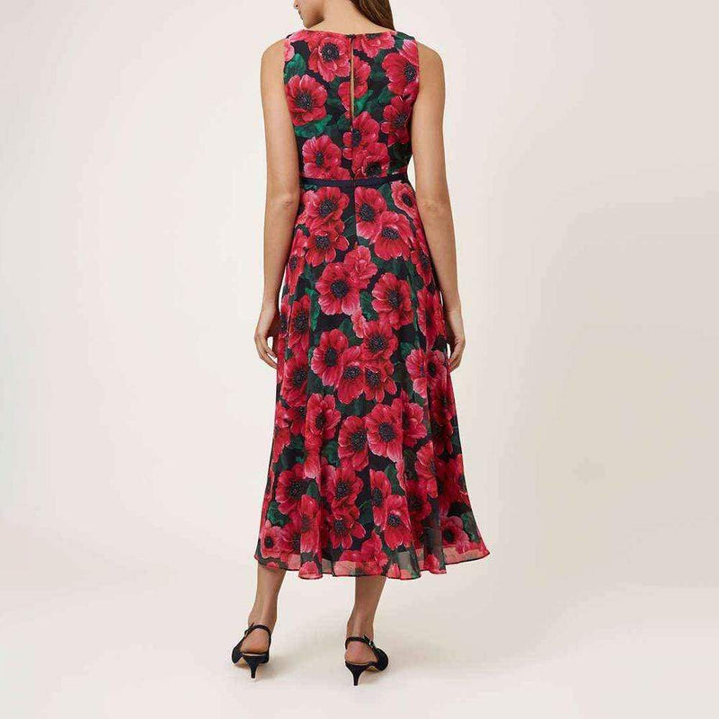 Hobbs Purple Carly Fit & Flare Floral Midi Skirt Dress RRP$355 - Zoom Boutique Store