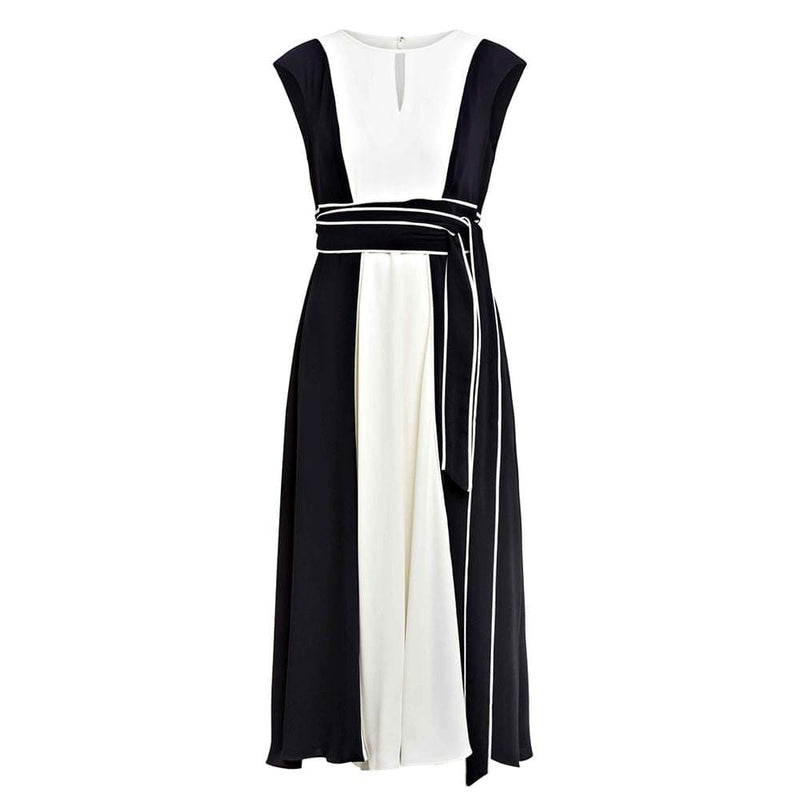 Hobbs Rae Colourblock Tie Waist Fit & Flare Midi Dress RRP$395 UK8 Zoom Boutique Store dress Hobbs Rae Colourblock Tie Waist Fit & Flare Midi Dress | Zoom Boutique